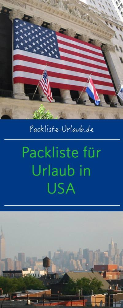 Packliste USA